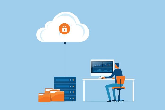 ilustração mostrando pessoa utilizando computador que envia dados para a nuvem