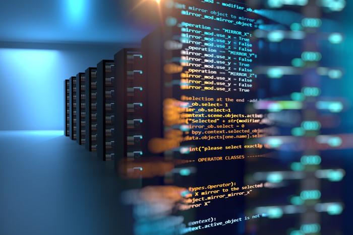 imagem de data center com programação de dados